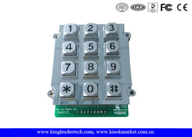 12 Keys Zinc Alloy Metal Keypad With Blue Backlight , vandal proof keypad 9 PIN connector